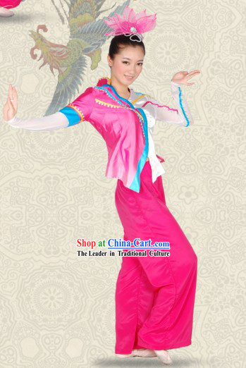 Folk Chinese Fan Dance Costumes and Headwear Complete Set for Women