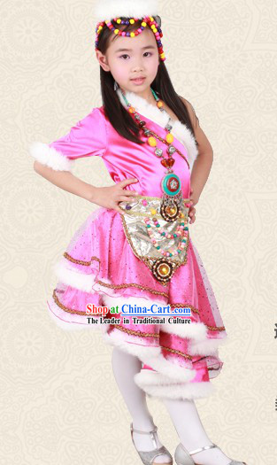 Pink Chinese Tibetan Minority Dance Costume and Headwear for Children