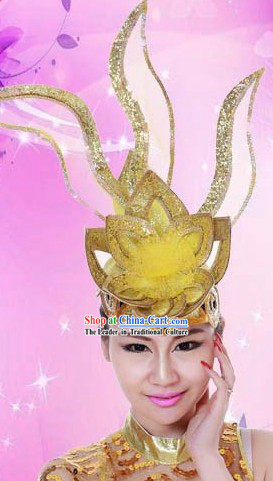 Golden Stage Performance Dance Headpiece for Women