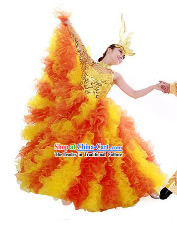 Big Chinese Festival Celebration Stage Performance Dance Skirt and Headwear for Women