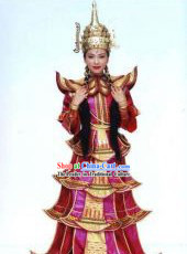 Ancient Myanmar Burma Country Princess Costumes and Hat for Women