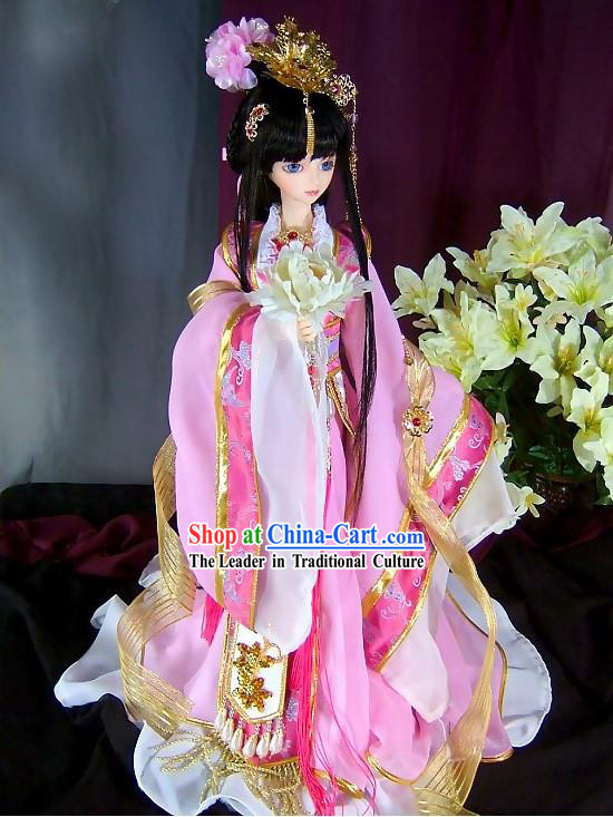 BJD Ancient Chinese Princess Dress and Hair Accessories Complete Set for Women