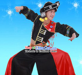 Traditional Chinese Yi Minority Dance Costumes and Headpieces for Men