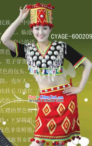 Traditional Chinese Jingpo Dresses and Hat Complete Set for Women