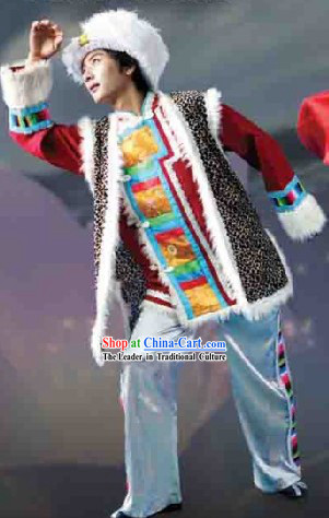 Traditional Chinese Tibetan Dance Dresses and Hat Complete Set for Men