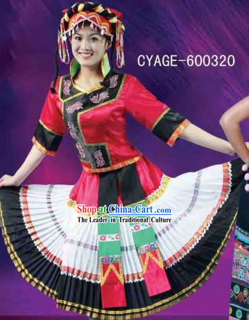 Traditional Chinese Yi Ethnic Suit and Hat for Women