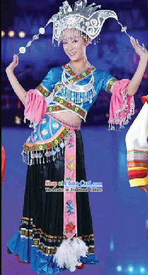 Traditional Miao Clothes and Hat for Women