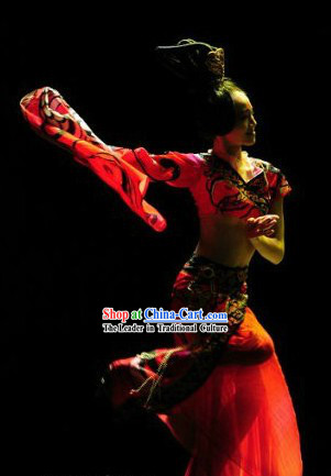 Chinese Classical Solo Dance Costume and Hair Accessories Complete Set for Women