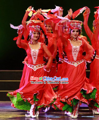 Stage Performance Ethnic Dance Costumes and Headwear for Women
