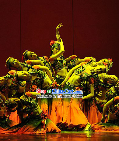 Stage Performance Xinjiang Dance Costumes and Headwear Complete Set for Women