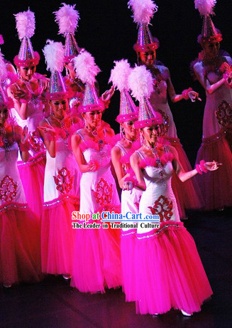 Stage Performance Dance Costumes and Hat Complete Set for Women