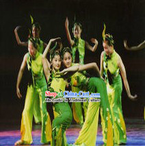 Traditional Chinese Shan Ye Xiao Qu Nature Dancing Costumes and Headpieces Complete Set for Women