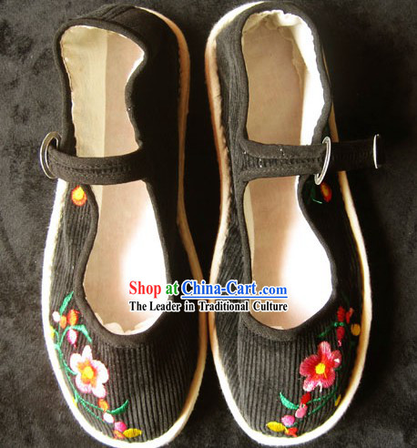 All Handmade Chinese Black Embroidered Flower Shoes for Women