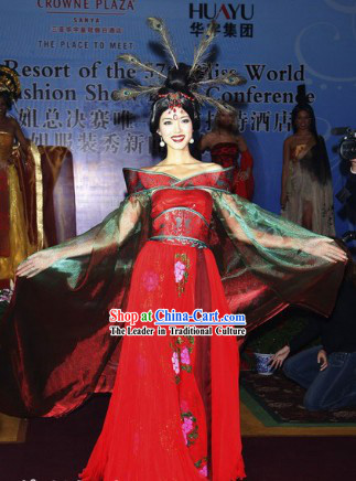 Ancient Chinese Red Imperial Palace Princess Clothing Complete Set for Women