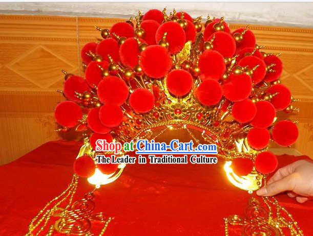 Chinese Opera Red Wedding Phoenix Crown for Women
