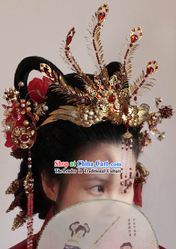 Ancient Chinese Imperial Palace Tang Dynasty Princess Phoenix Wedding Hair Accessories Complete Set