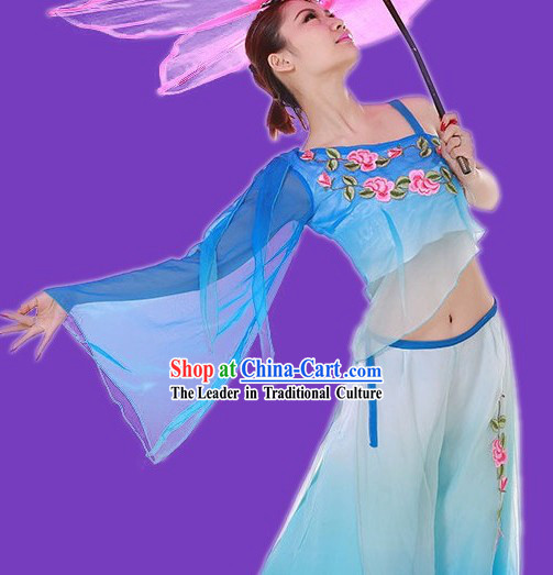 Blue Colour Transition Fan Dance Costumes for Women