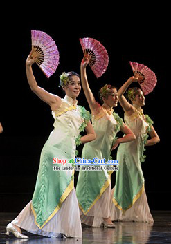 Traditional Chinese Jasmine Flower Dance Cheongsam Costumes and Headgear for Women