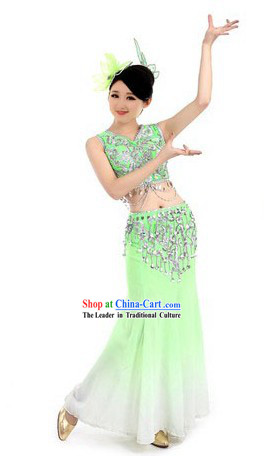 Folk Fan Dancing Costumes and Headpiece for Women