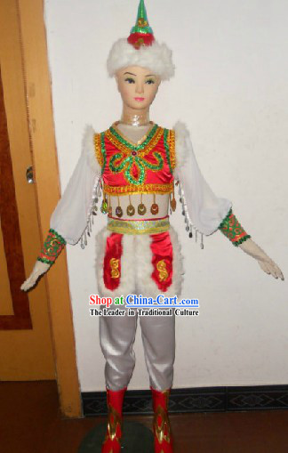 Mongolian Costume and Hat Complete Set for Children