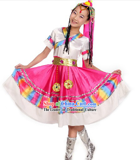 Traditional Chinese Tibetan Performance Costumes for Kids
