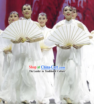 Pure White Long Stage Performance Dance Fan