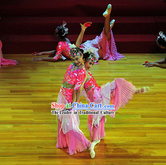 Modern Chinese Folk Dance Costumes and Headgear for Women