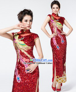 Custom-made Traditional Chinese Red Wedding Phoenix Cheongsam