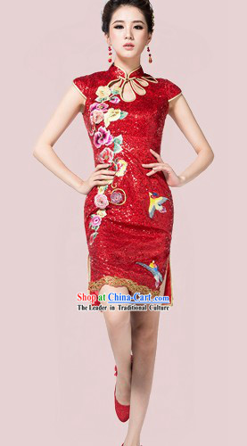 Short Custom-made Traditional Chinese Red Wedding Phoenix Qipao