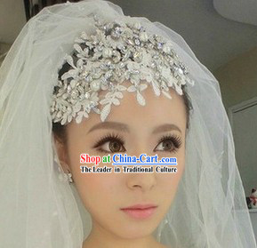 Chinese Shinning White Lace Wedding Headgear