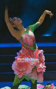 Flower Blossom Stage Performance Dance Costumes and Headwear for Women