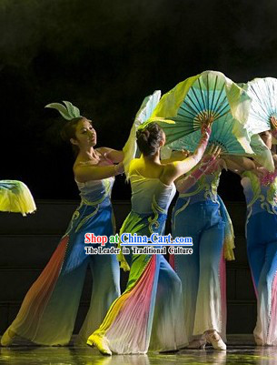 Wide Legs Stage Performance Fan Dance Costumes and Headwear for Women