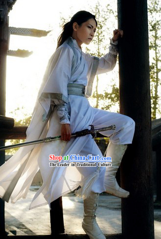 Pure White Asian Swordsman Costumes Complete Set for Men