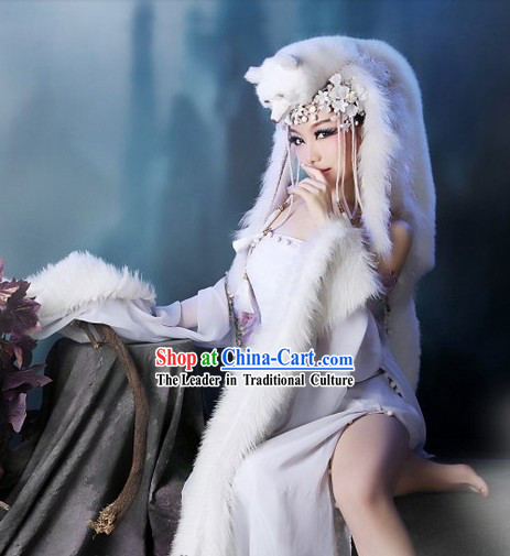Ancient Chinese Fox Spirit Costumes and Headdress Complete Set