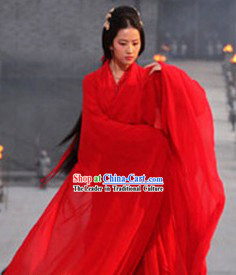 Chinese Traditional Red Wedding Hanfu Dress and Hair Accessories Complete Set