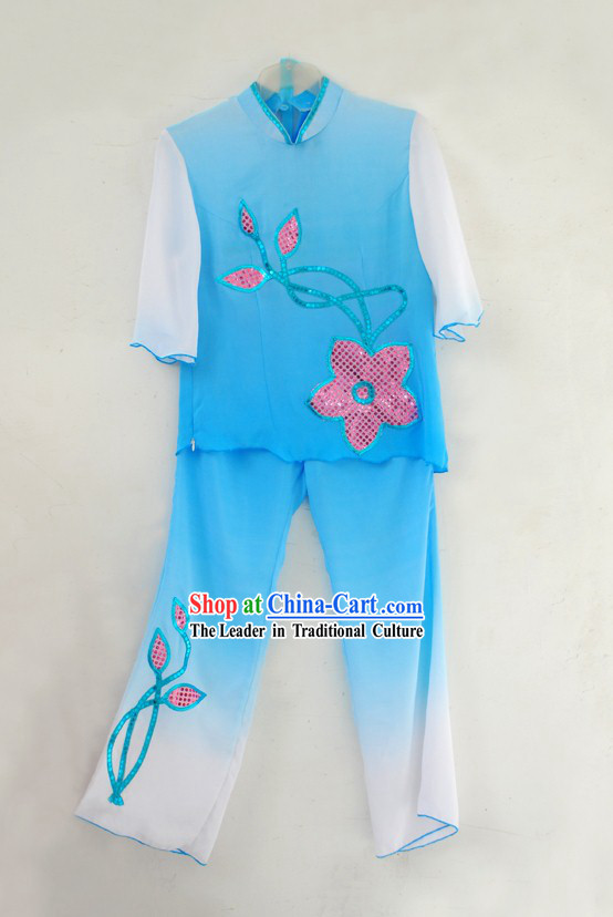 Traditional Blue Fan Dance Costumes for Women