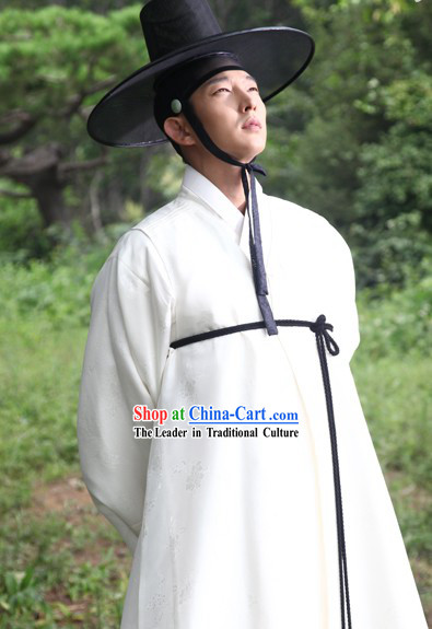 Pure White Ancient Korean Drama Plays Hanbok Costume Complete Set for Men