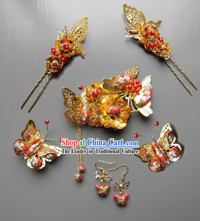 Handmade Traditional Chinese Wedding Jewelry Enamel Bridal Hair Accessories Complete Set