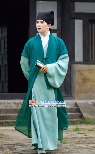 Traditional Ancient Chinese Authentic Hanfu Shenyi Clothing Banbi and Hat for Men