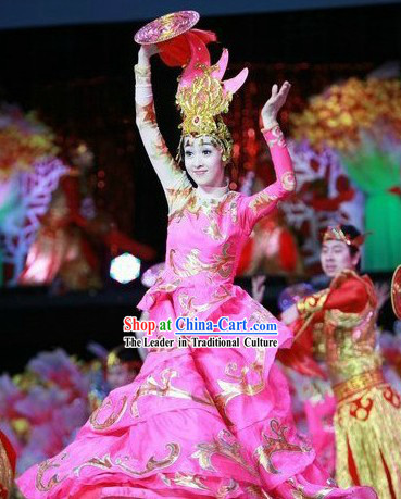 Traditional Chinese New Year Dance Costumes and Hat Complete Set