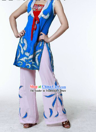 Traditional Chinese Fan Dance Costumes Complete Set