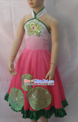 Traditional Chinese Fan Dance Costume Set for Children