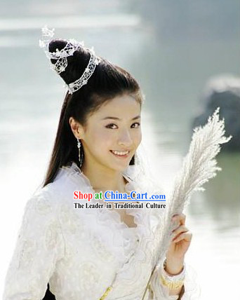 Traditional Ancient Chinese Fairy Headdress and Wig Set