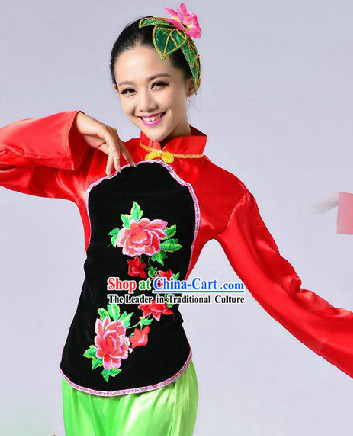 Traditional Chinese Yang Ge Dancing Uniform for Women