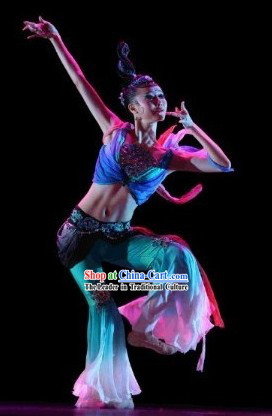 Chinese Fei Tian Dancer Costumes and Headdress Complete Set for Women