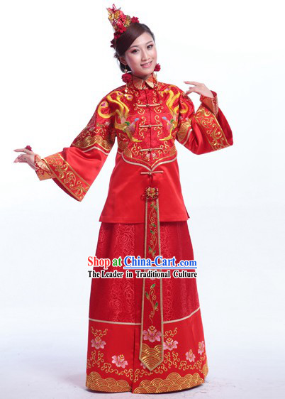Supreme Chinese Wedding Dresses Complete Set for Brides