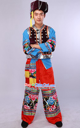 China Miao Ethnic Dancing Costumes and Hat Complete Set for Men