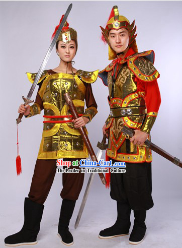 China Male and Female General Costumes and Hats 2 Complete Set for Men amd Women