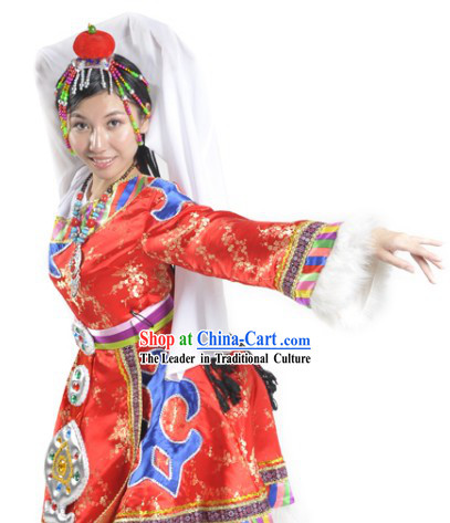 Chinese Tibetan Dance Costumes and Headdress Complete Set for Women