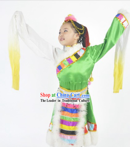 Chinese Tibetan Festival Celebration Dance Costumes and Headdress Complete Set for Kids